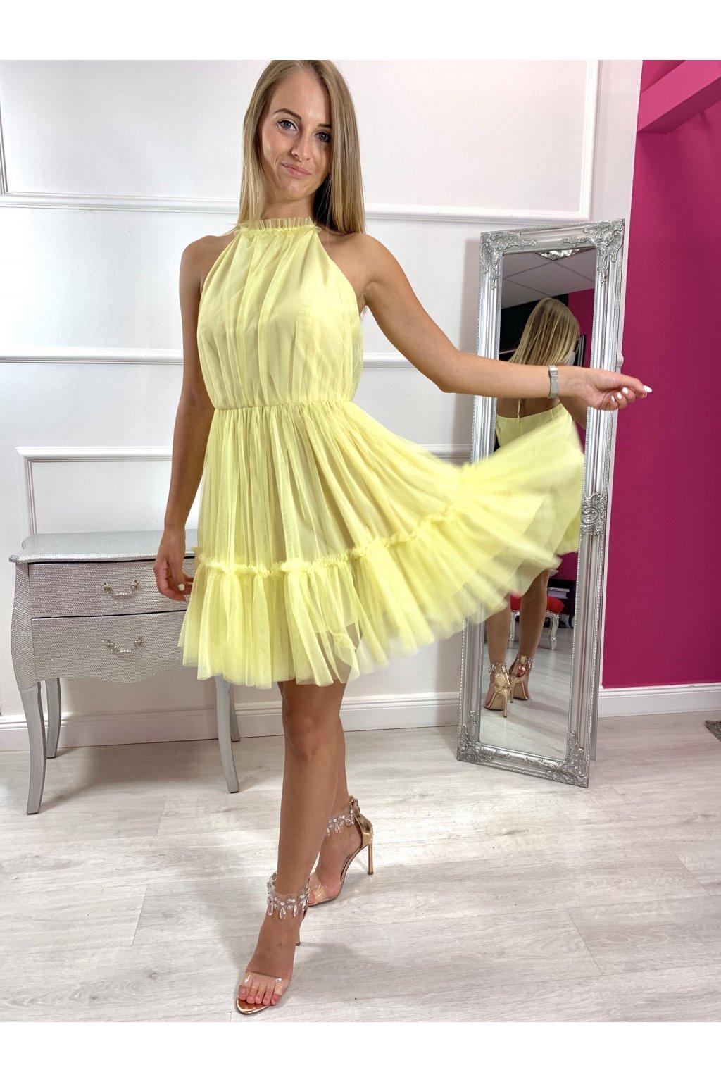 MINNIE - dámske krátke tylové šaty - žlté