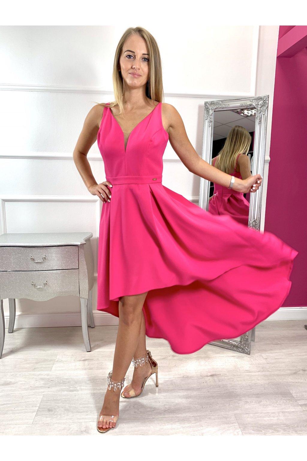 NAOMI dámske asymetrické spoločenské šaty - pink