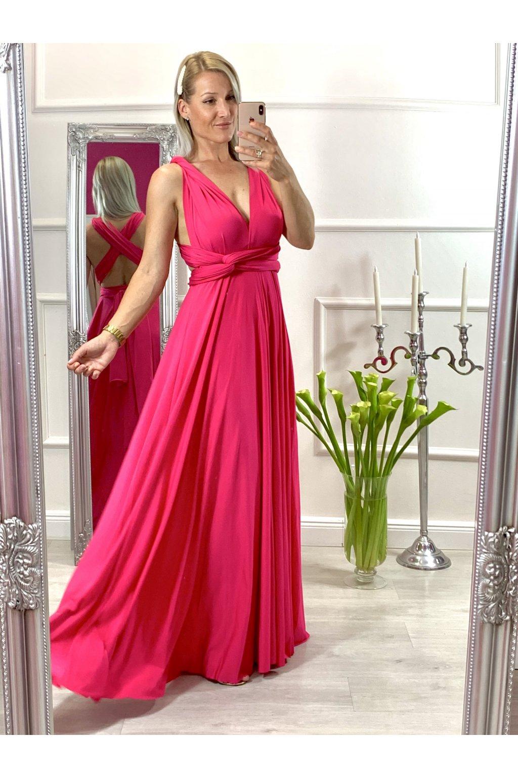 INFINITY dámske dlhé spoločenské šaty na viazanie - pink