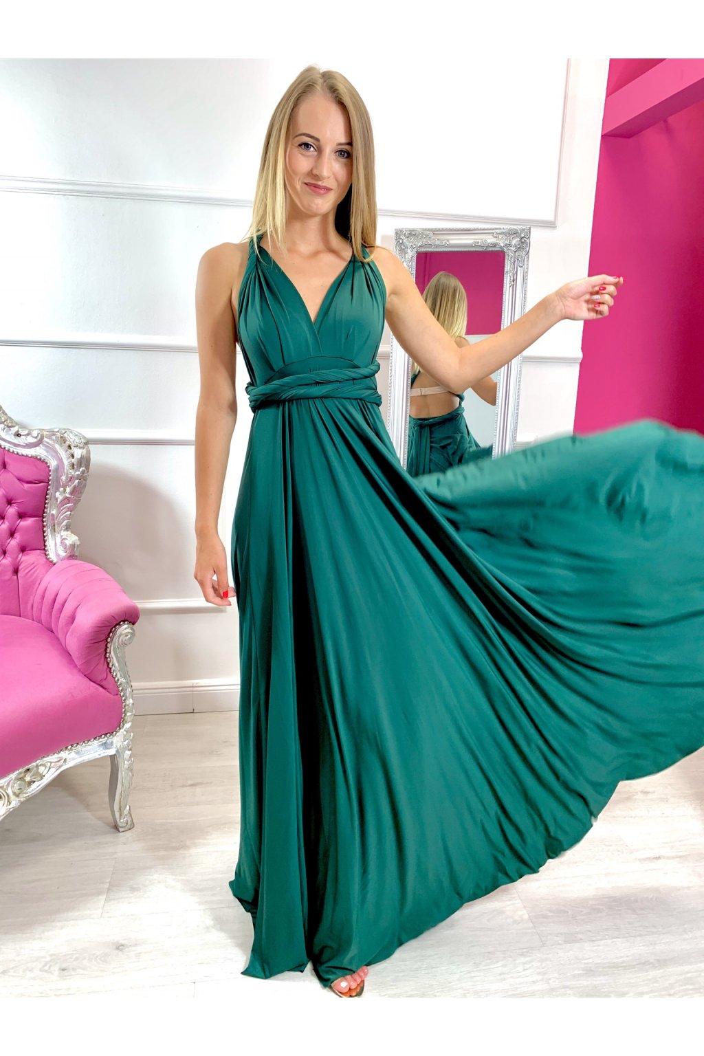 INFINITY dámske dlhé spoločenské šaty na viazanie - Smaragd