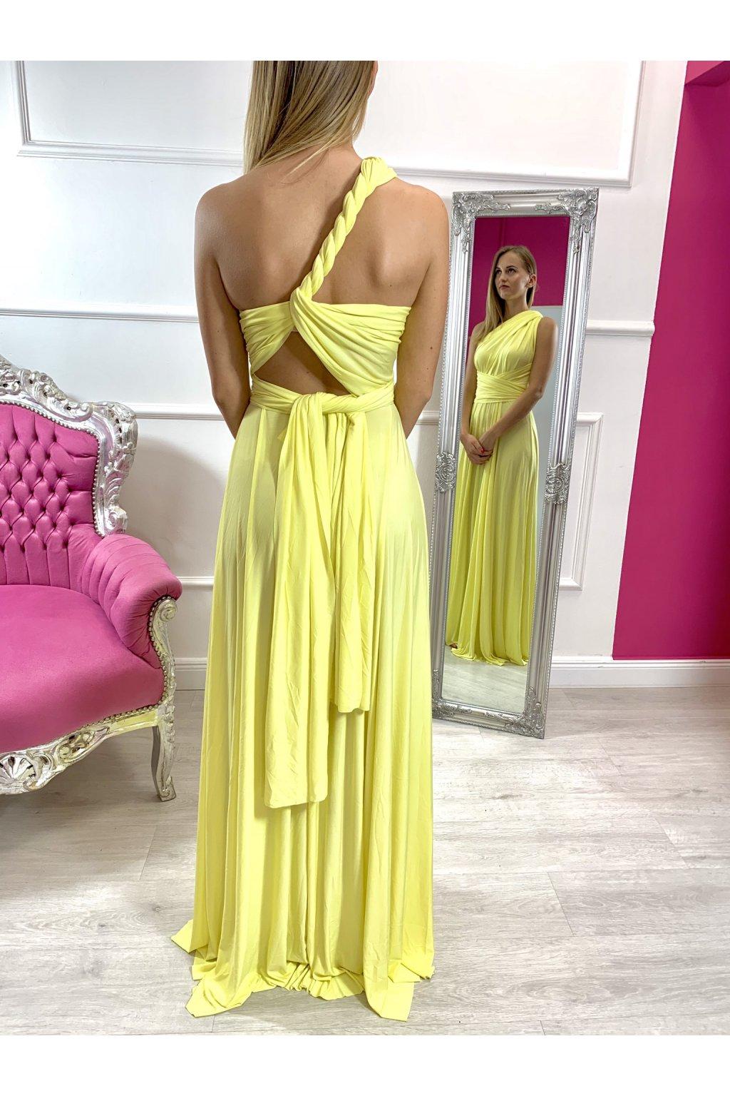 INFINITY dámske dlhé spoločenské šaty na viazanie - lemon