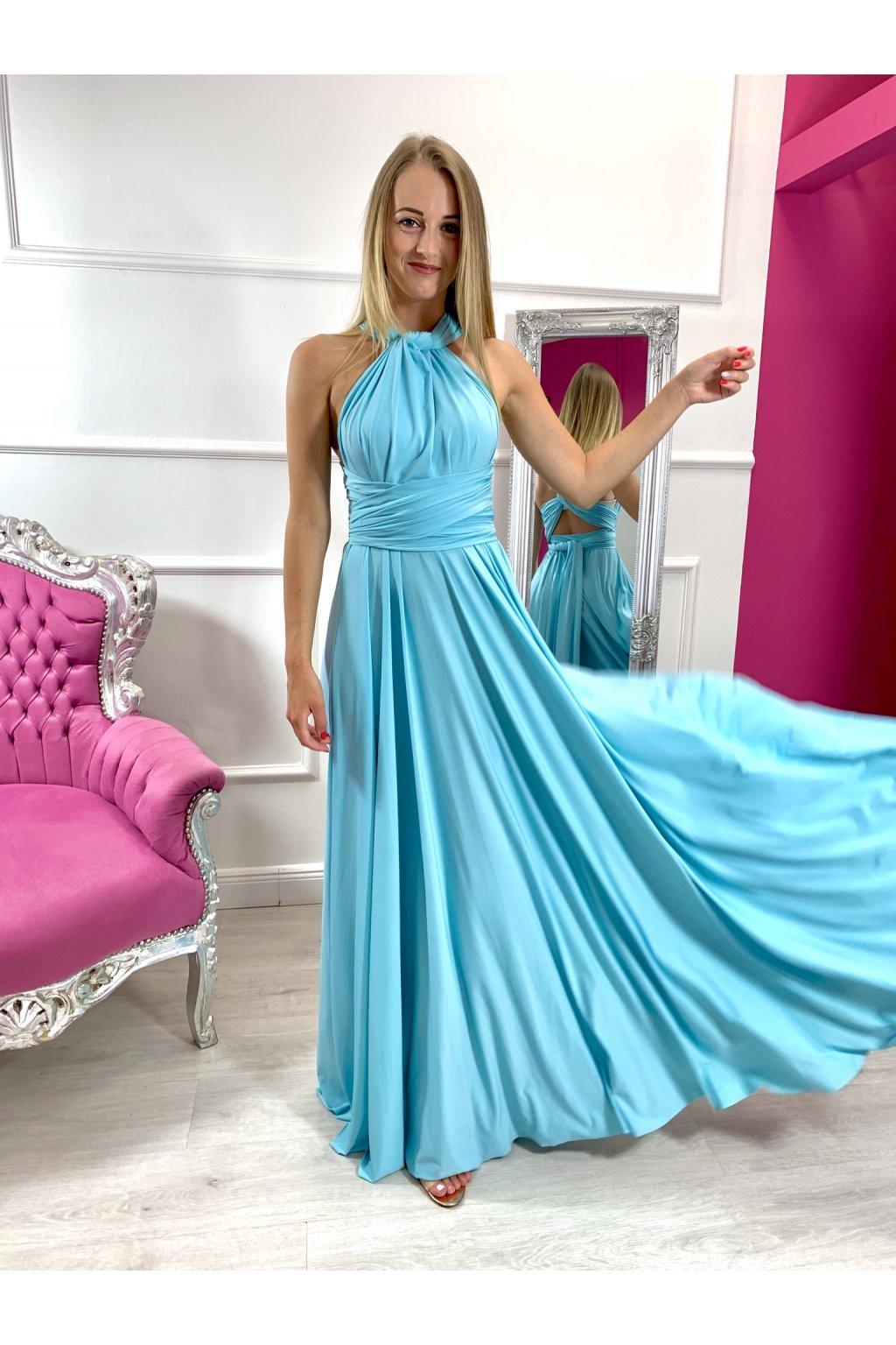 INFINITY dámske dlhé spoločenské šaty na viazanie - Tyrkys