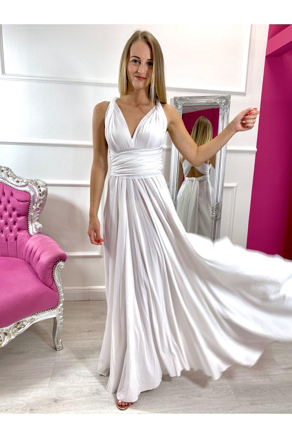 INFINITY dámske dlhé spoločenské šaty na viazanie - Biele