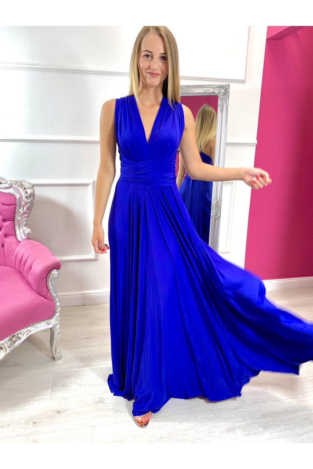 INFINITY dámske dlhé spoločenské šaty na viazanie - Král.modré