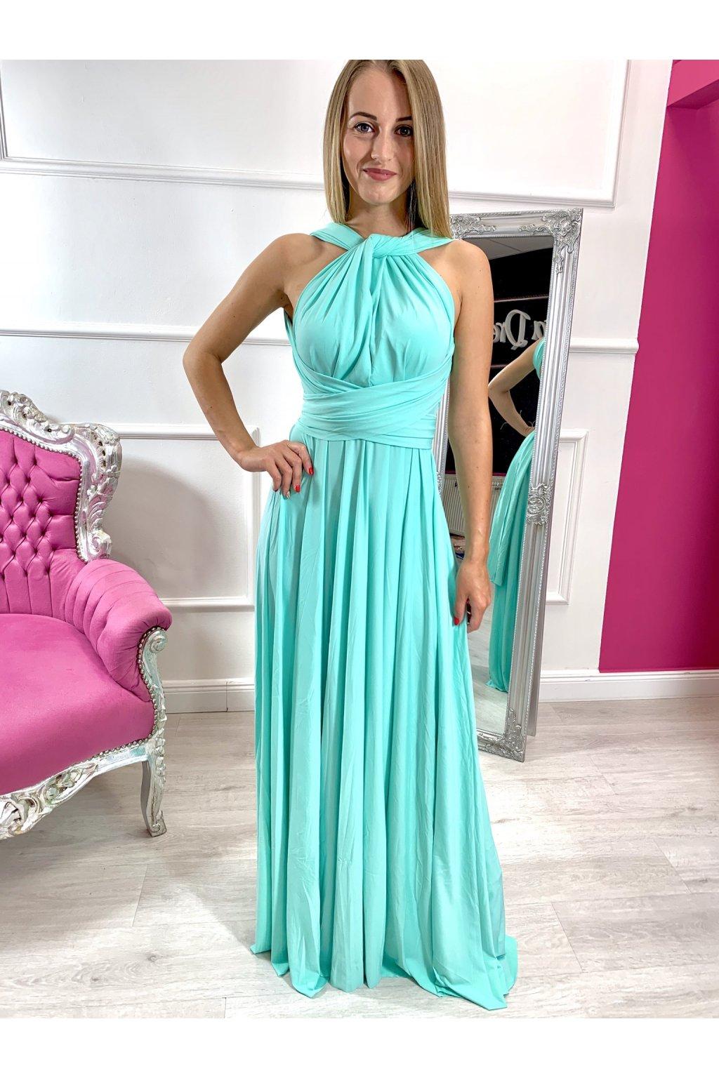 INFINITY dámske dlhé spoločenské šaty na viazanie - Mentol