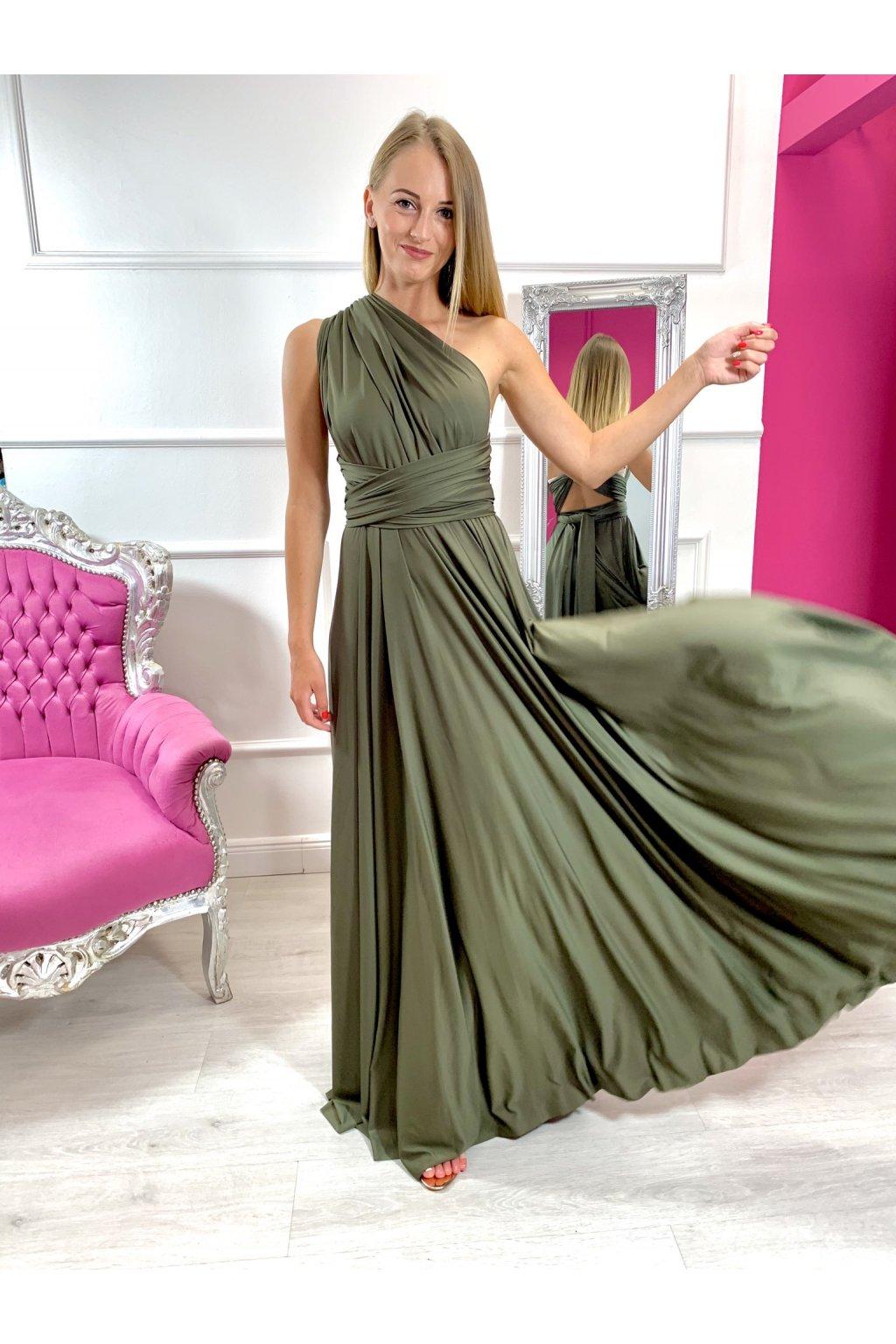 INFINITY dámske dlhé spoločenské šaty na viazanie - Khaki