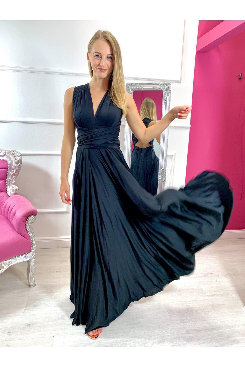 INFINITY dámske dlhé spoločenské šaty na viazanie - Čierne