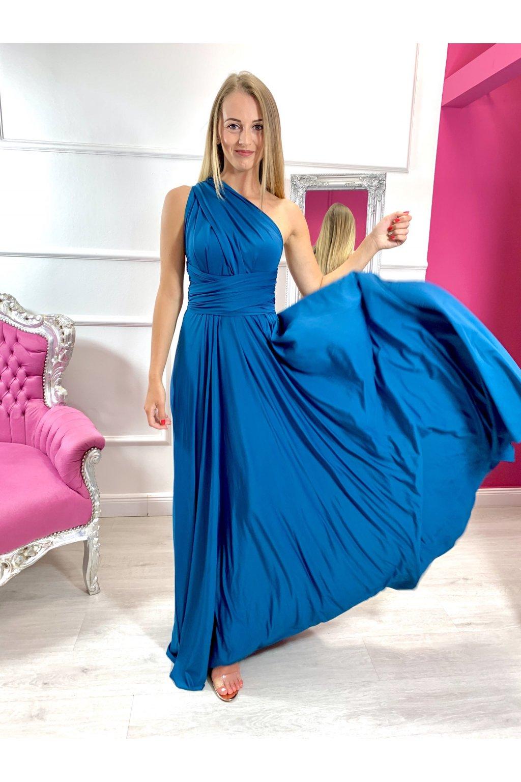 INFINITY dámske dlhé spoločenské šaty na viazanie - Petrolej