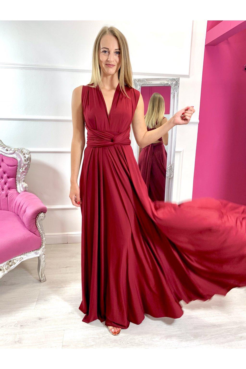 INFINITY dámske dlhé spoločenské šaty na viazanie - Bordové