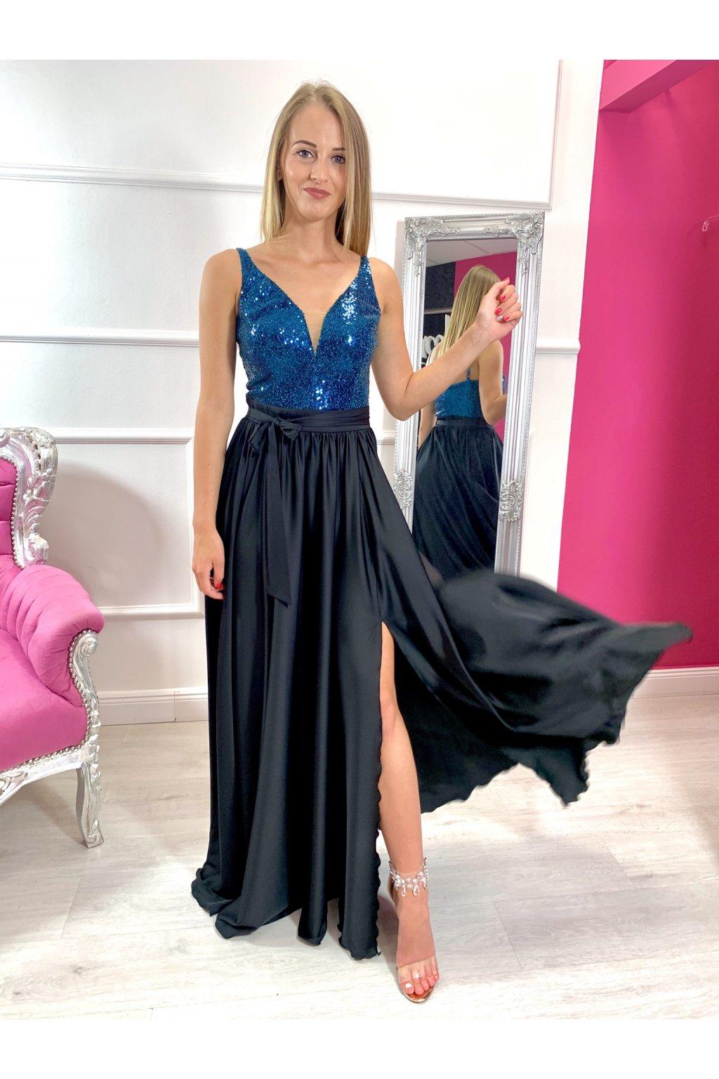 AISHA dámske dlhé spoločenské šaty s flitrami modré