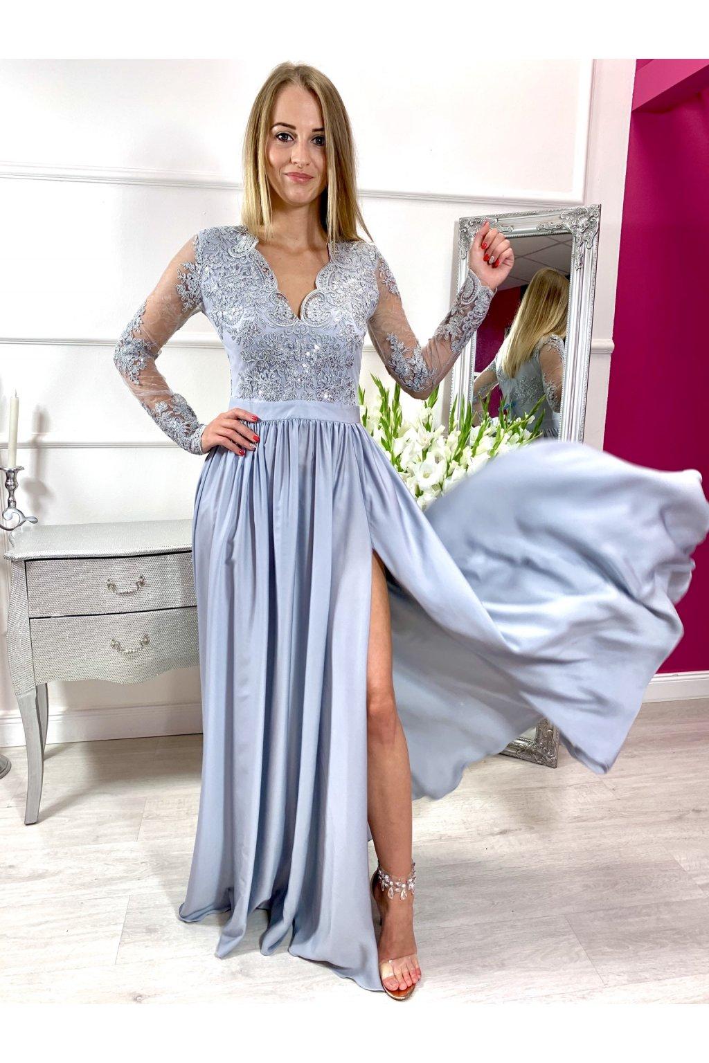 LUNA dámske dlhé spoločenské šaty s dlhým rukávom strieborné