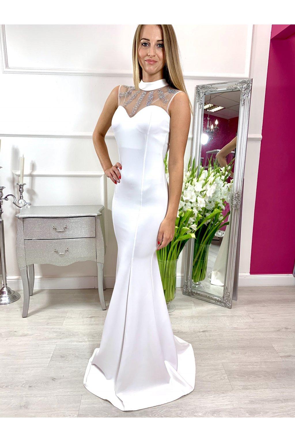 ANDREA dámske dlhé priliehavé spoločensé šaty biele