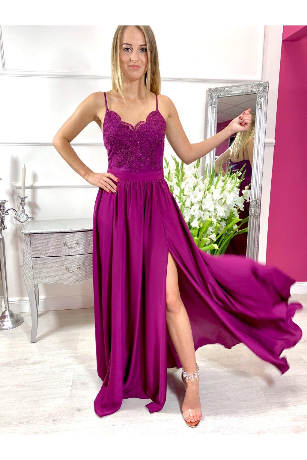 BELLA - dámske dlhé spoločenské šaty s rozparkom - tmavo fialové