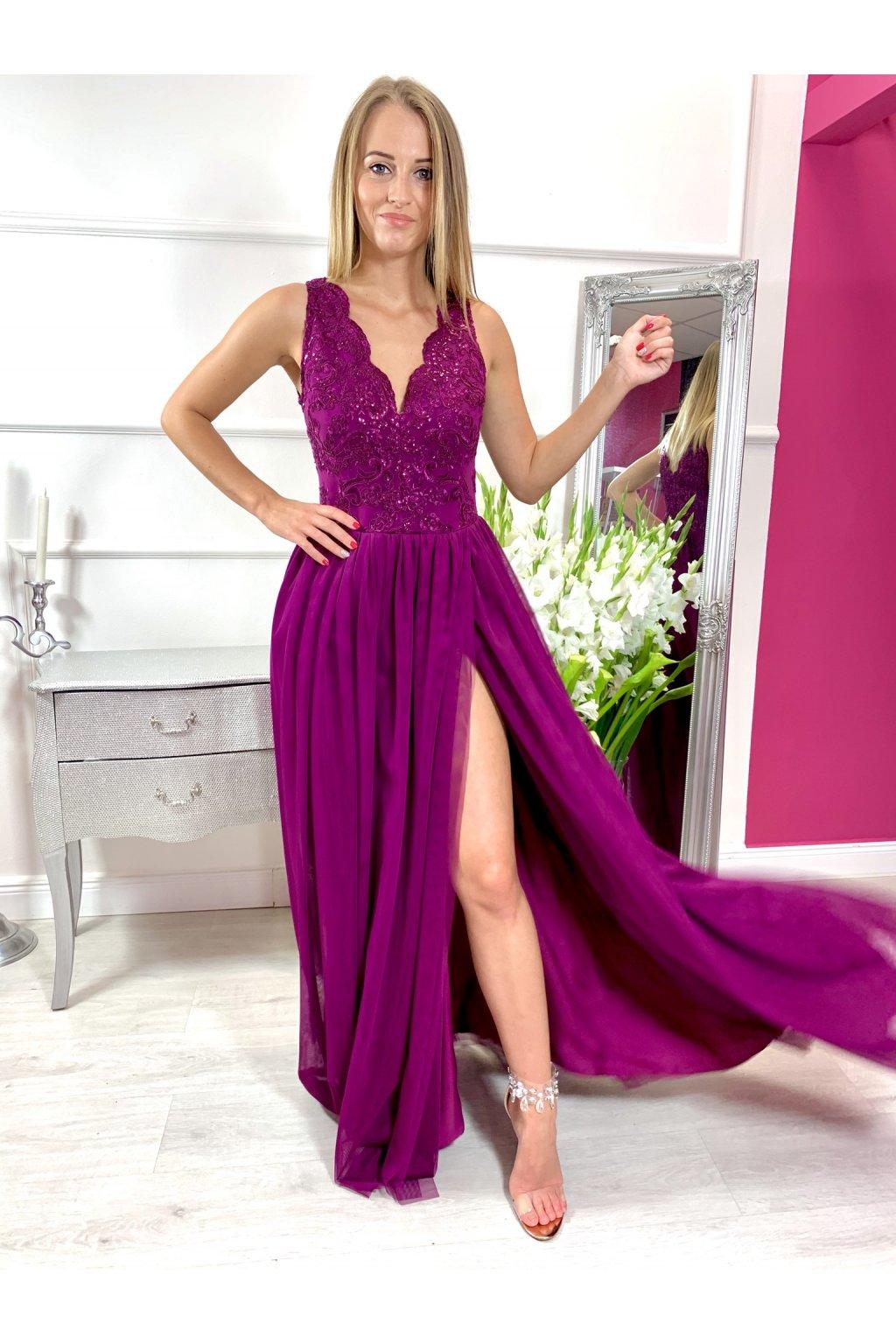 CHIARA dámske dlhé spoločenské šaty bordovo fialove