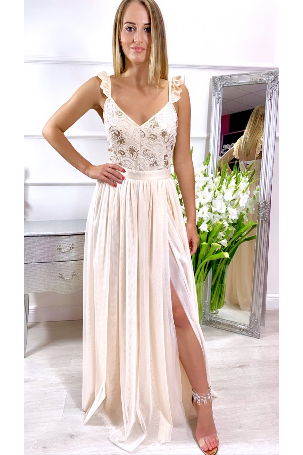 ANGEL dámske dlhé spoločenské šaty krémové