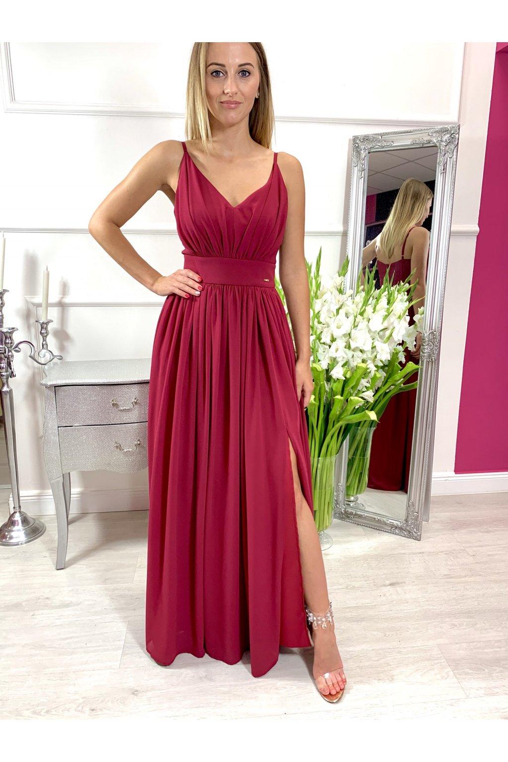 ROSE dámske dlhé spoločenské šaty s rozparkom - bordové