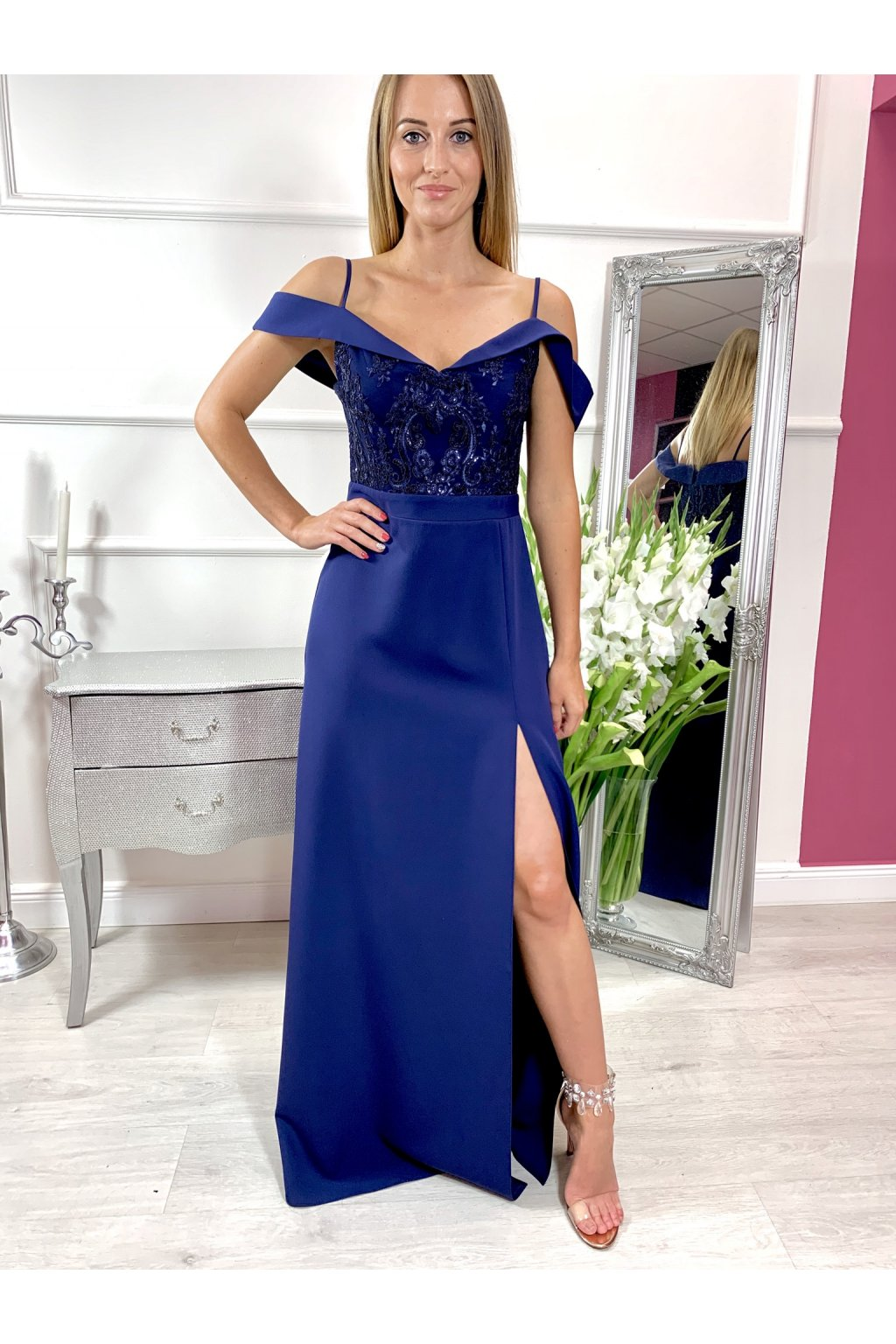 SARA dámske dlhé spoločenské šaty - navy modré