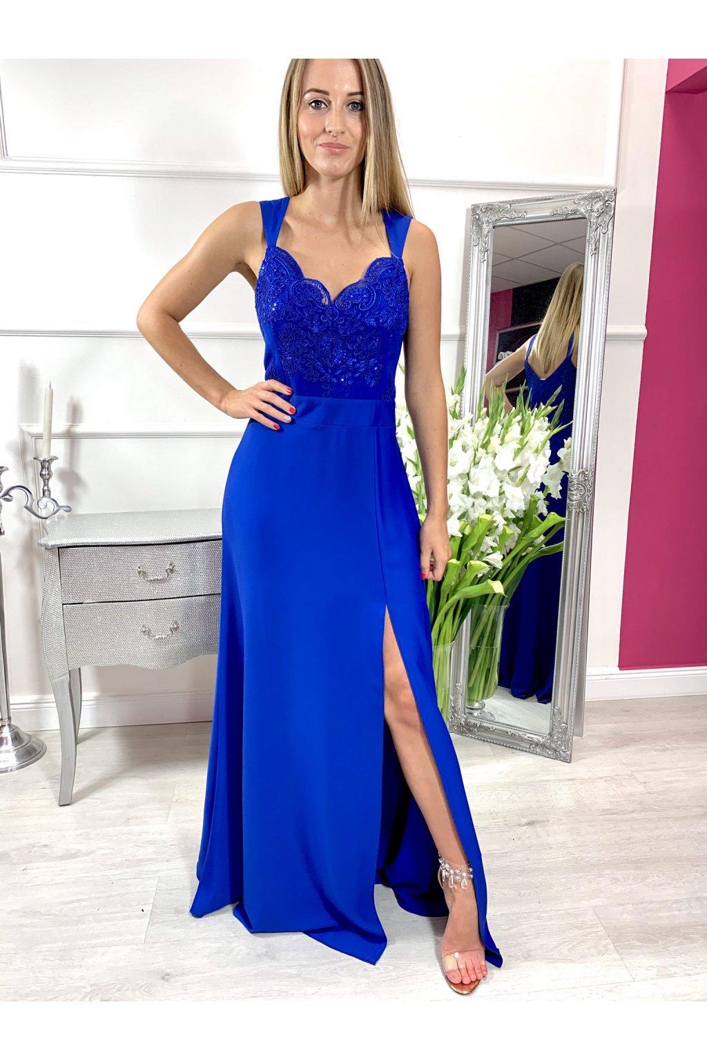 MELANI dámske dlhé spoločenské šaty modré