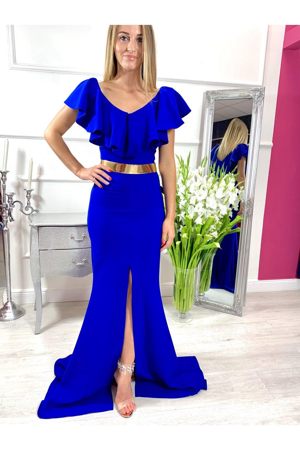 EVA volánikové dlhé spoločenské šaty - kráľovské modré