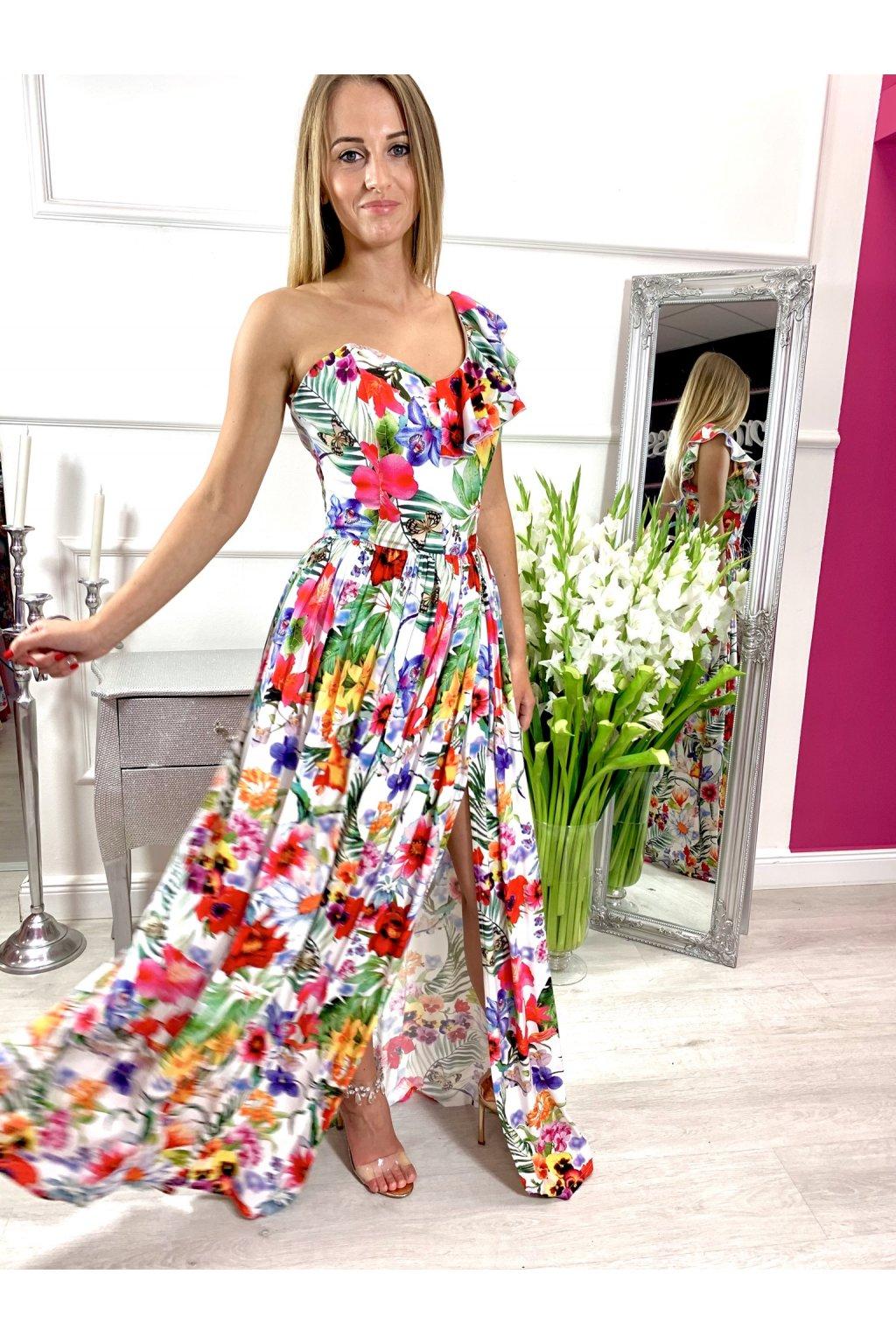 TAMARA dámske dlhé spoločenské - letné šaty - biele kvetované