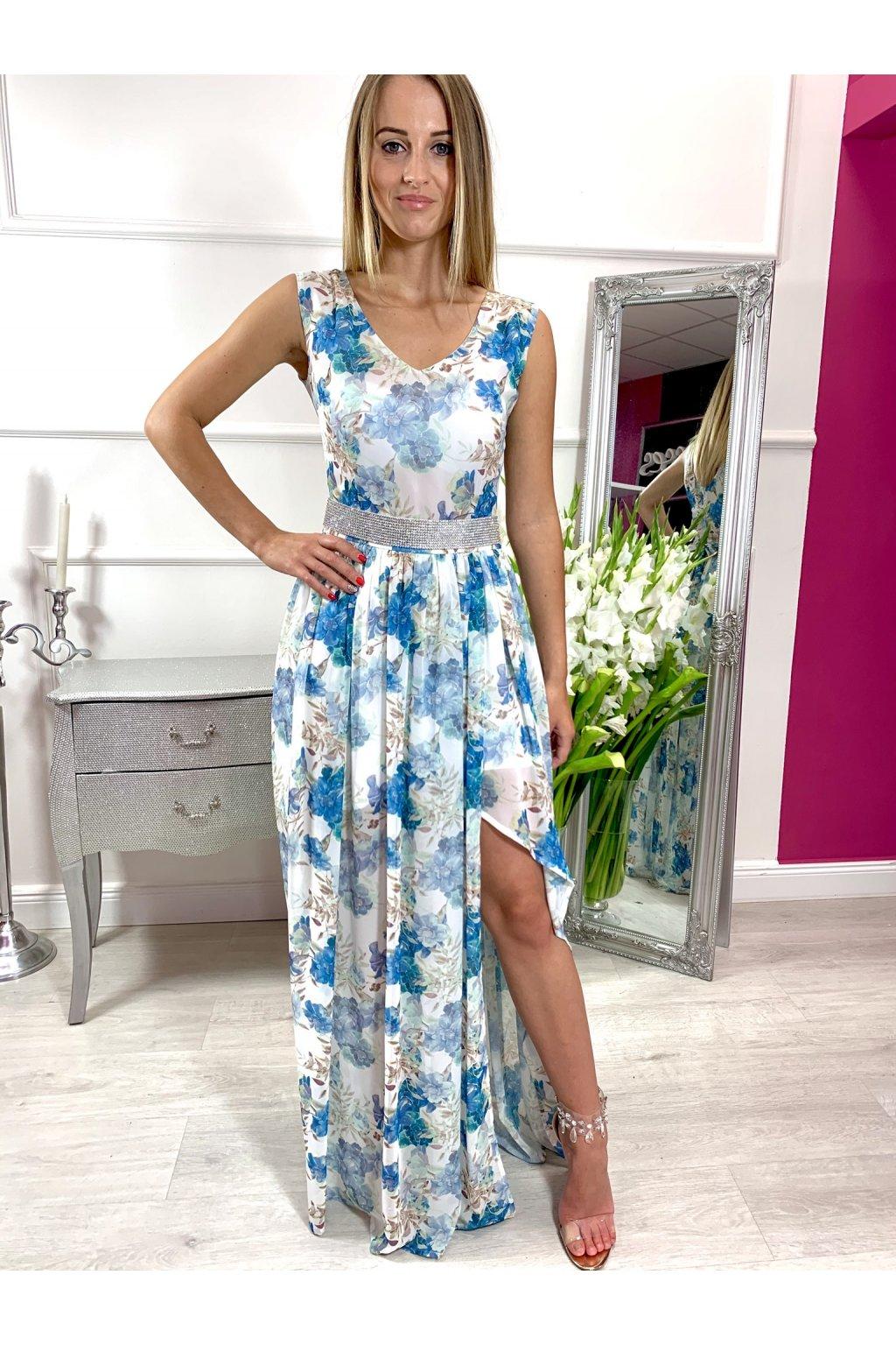 TAMI dámske dlhé spoločenské - letné šaty - kvetované