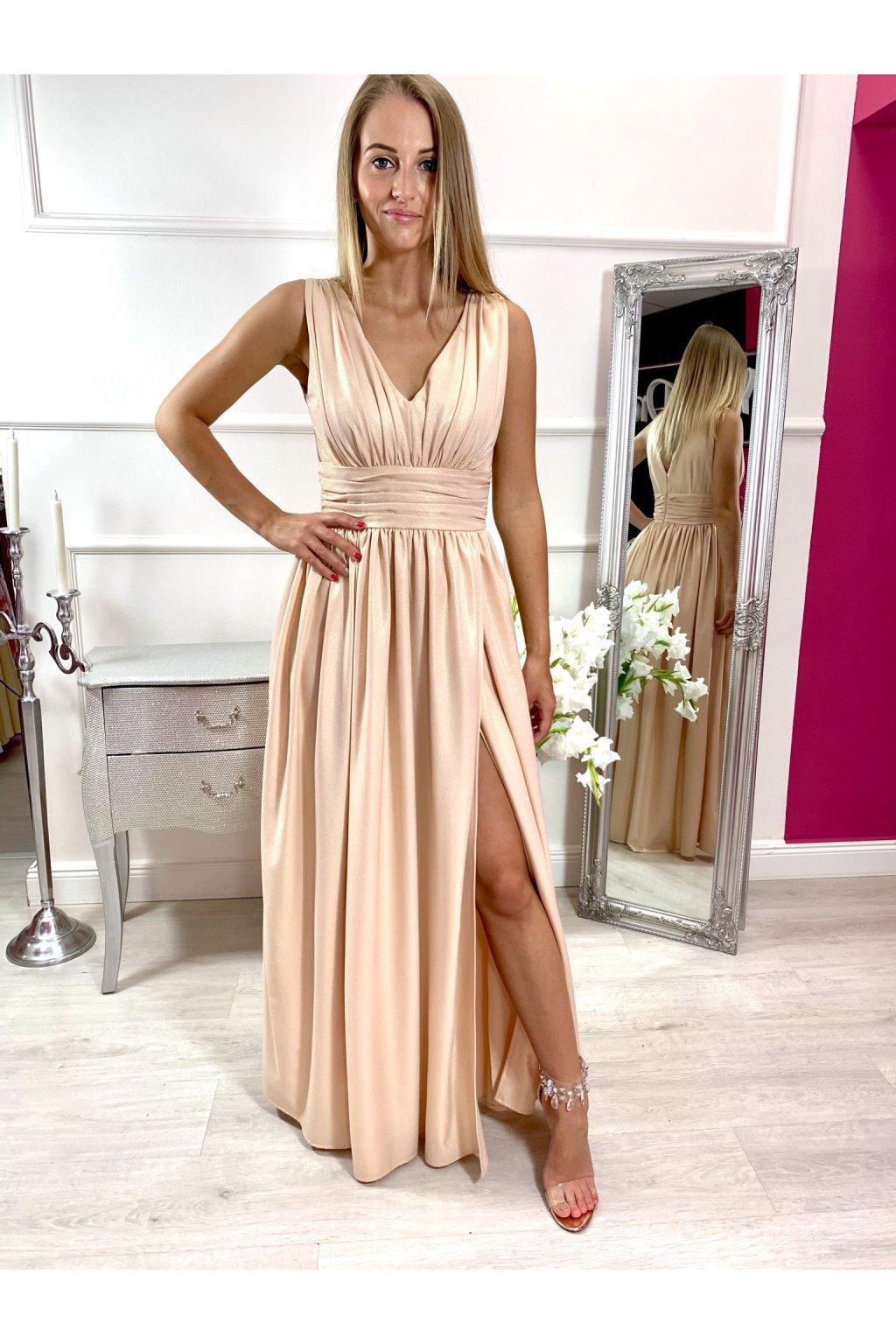 TINA dámske dlhé spoločenské šaty s rozparkom - zlaté