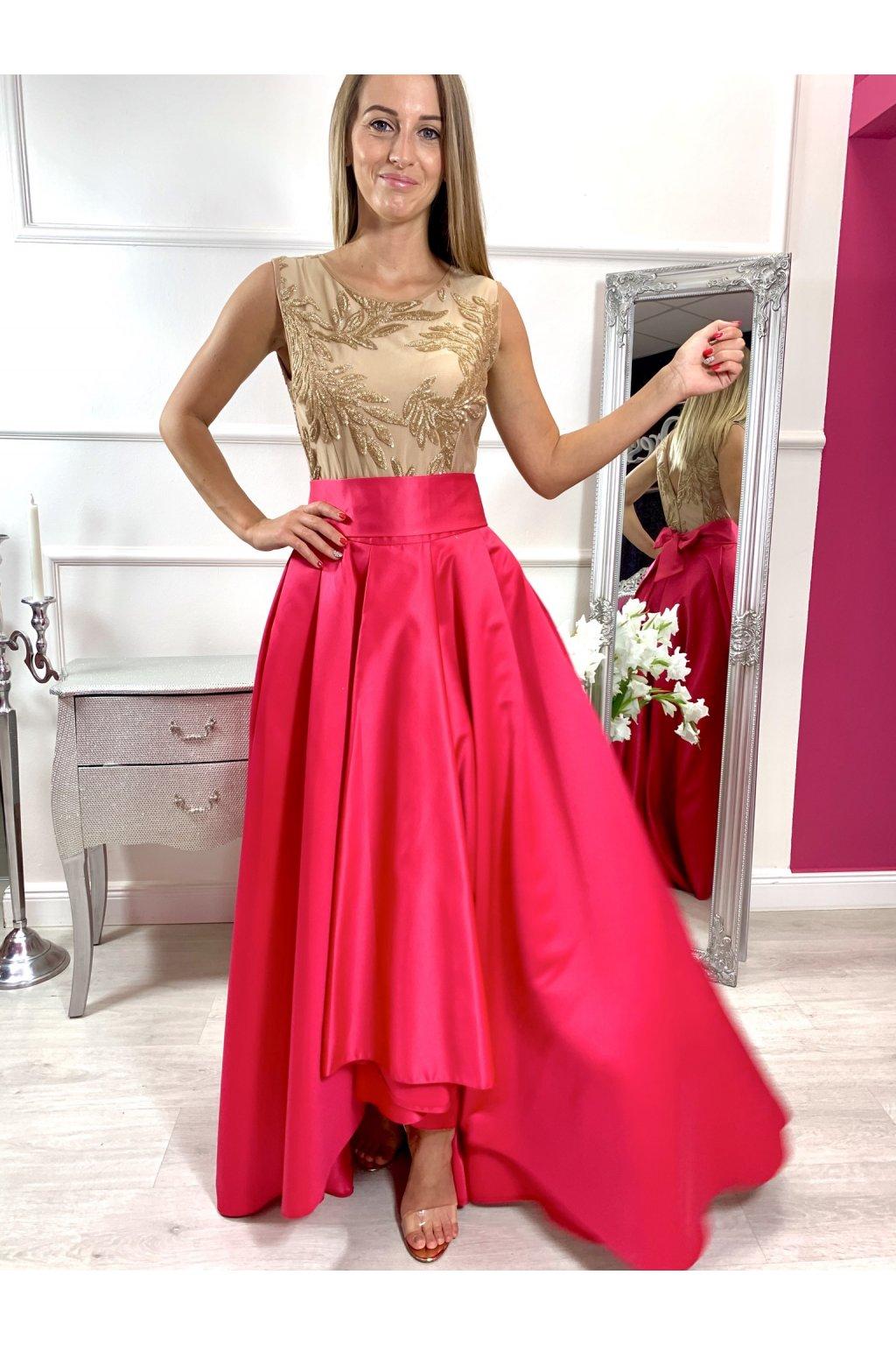 AMIRA dámske asymetrické šaty s ružovou sukňou