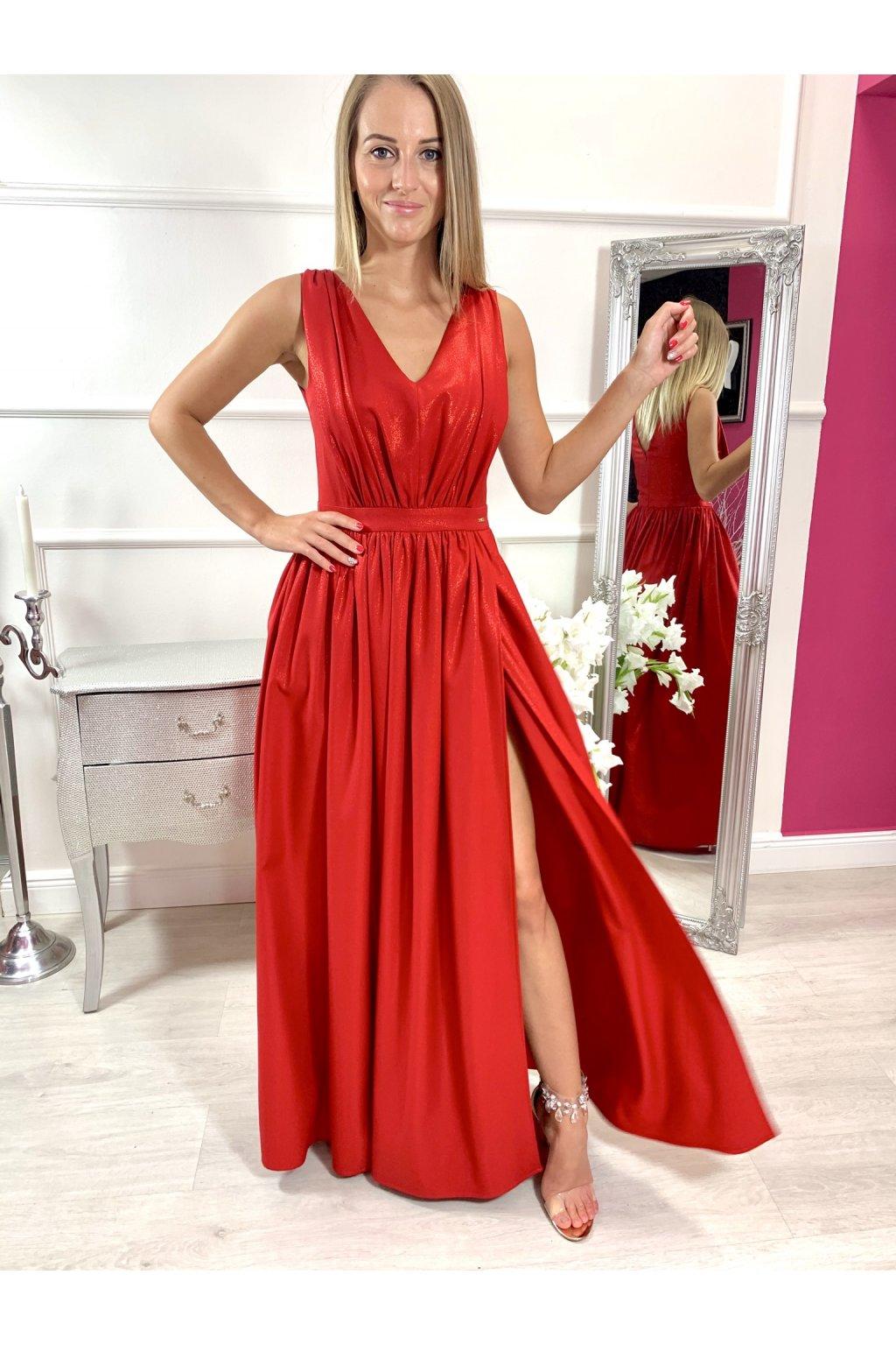 TINA II. dámske dlhé spoločenské šaty s rozparkom - červené