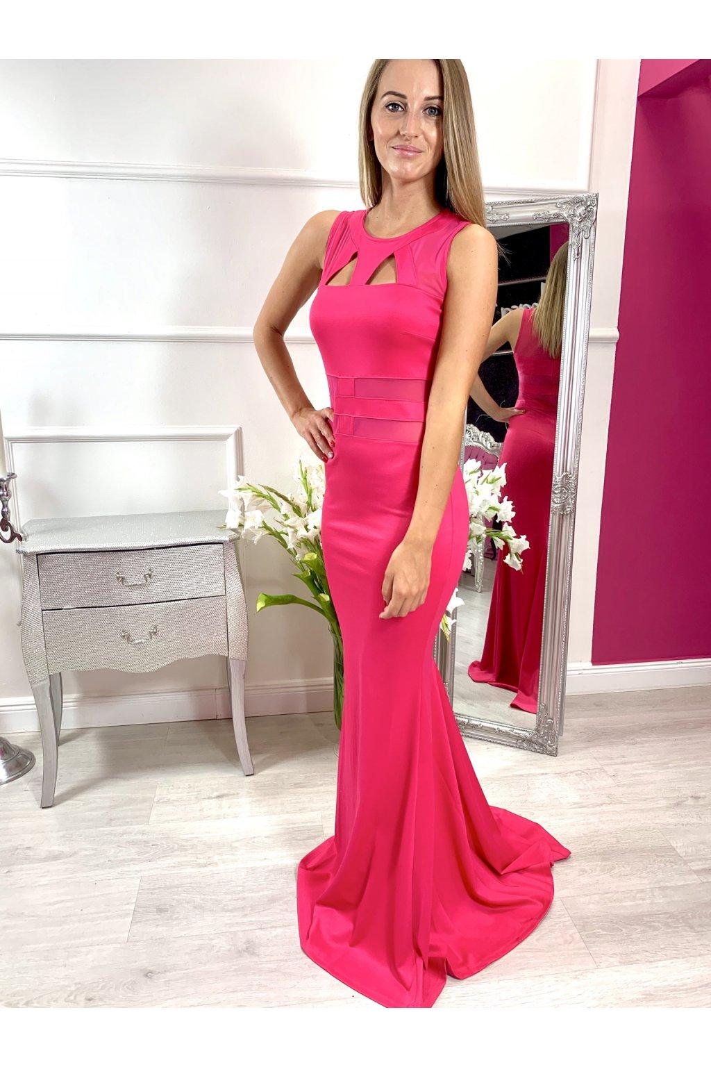 STELA dámske dlhé priliehavé spoločenské šaty ružové