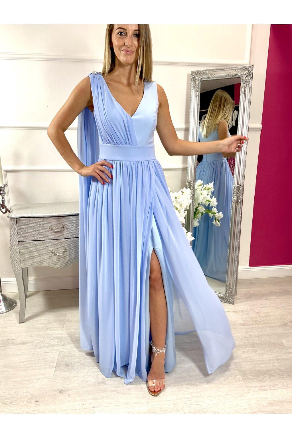 MOLLY dámske dlhé spoločenské šaty svetlomodré