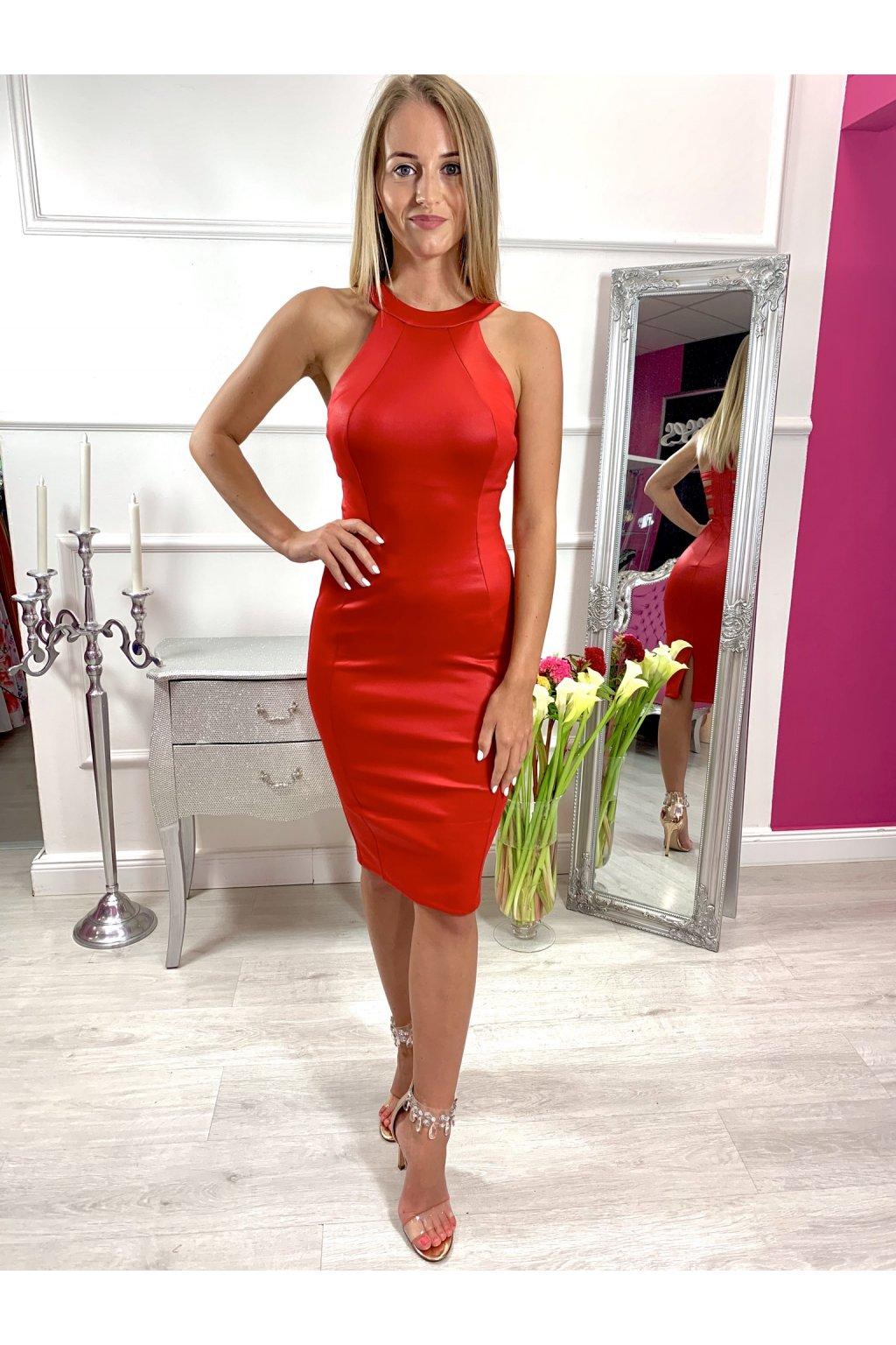 CINDY dámske priliehavé šaty s vystrihom na chrbte - červené