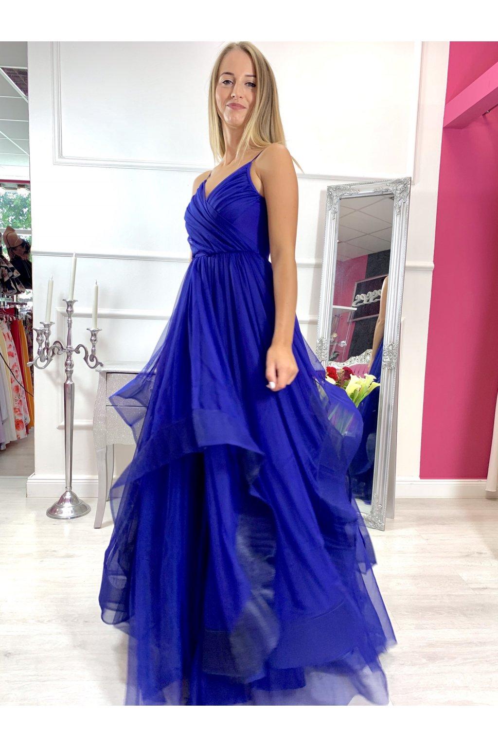 Sheryl - dámske dlhé spoločenské šaty - modré