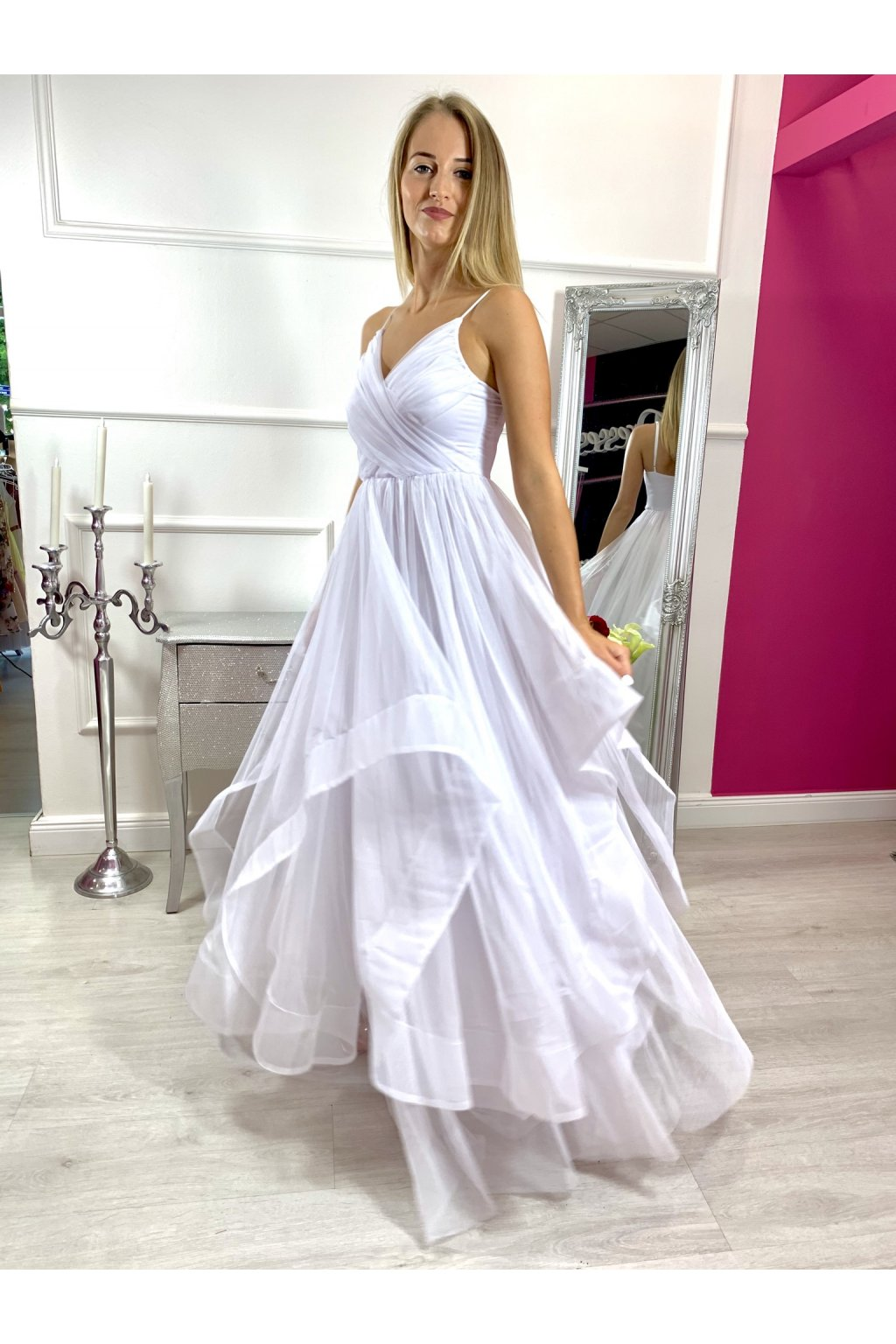 Sheryl - dámske dlhé spoločenské šaty - biele