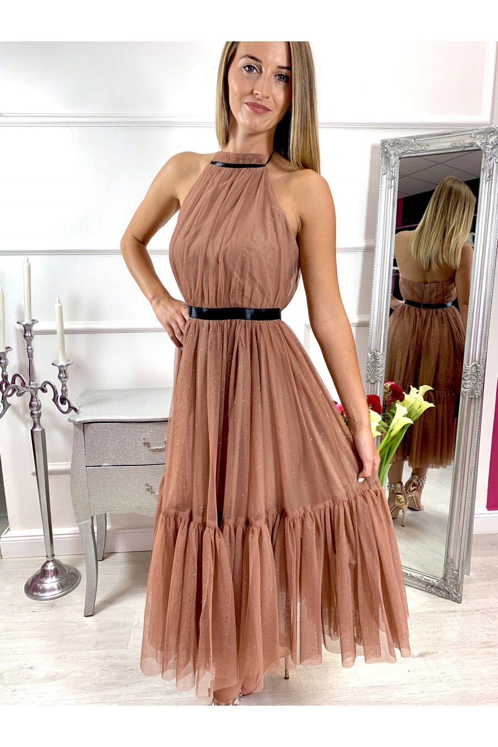 LARA - dámske midi šaty - capuccino