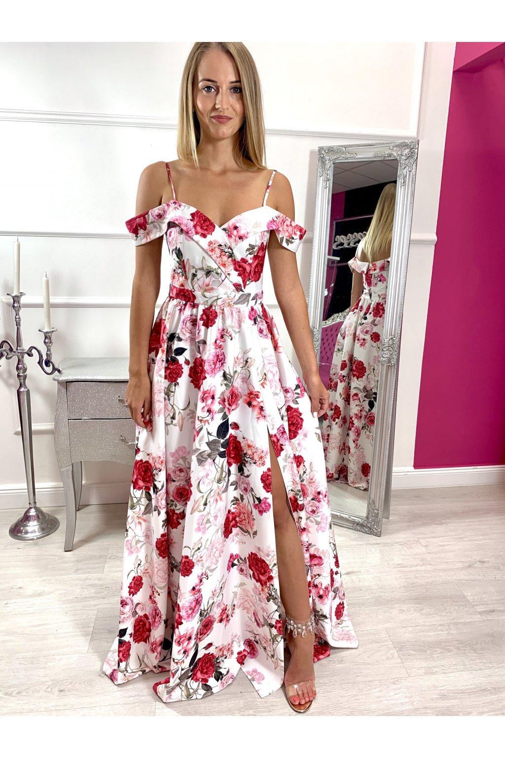 ELISABETH dámske dlhé spoločenské šaty s kvetmi