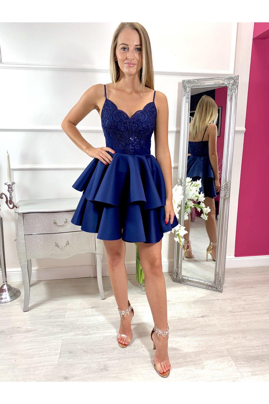 LEILA - krátke spoločenské šaty - navy modré