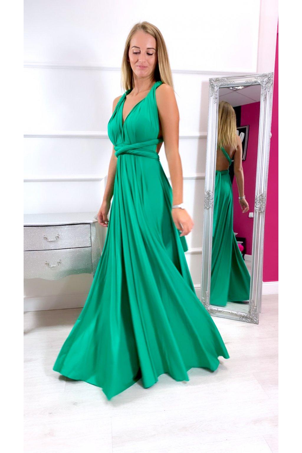 INFINITY dámske dlhé spoločenské šaty na viazanie - Zelené