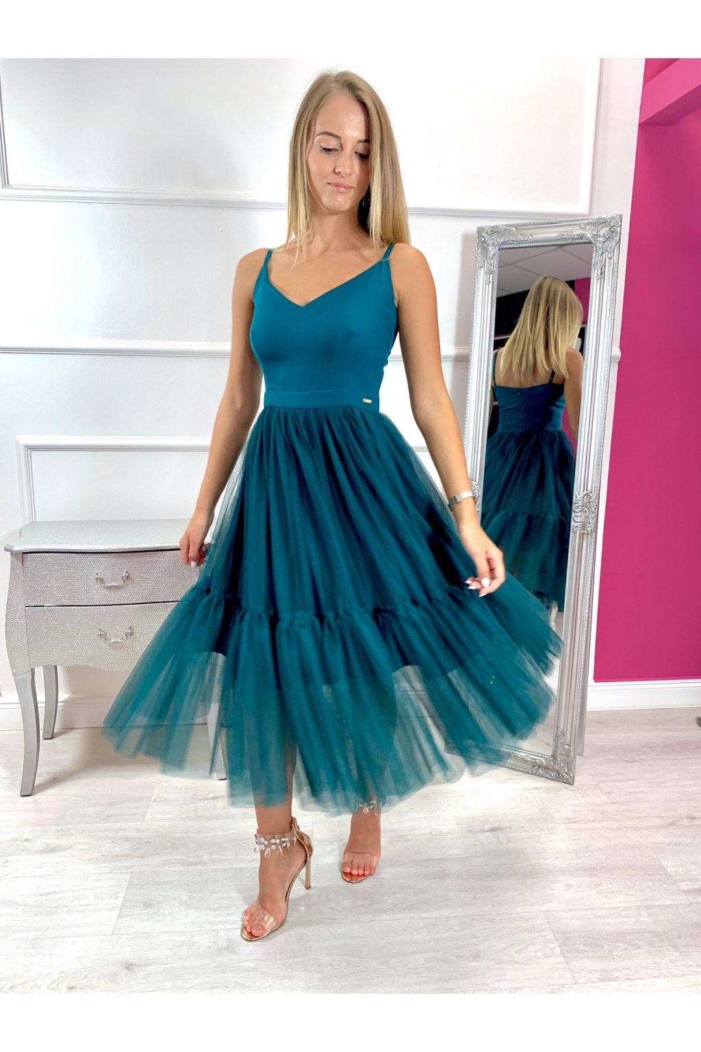 AURORA dámske midi šaty smaragdové