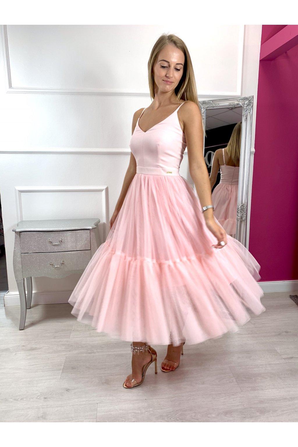 AURORA dámske midi šaty púdrové