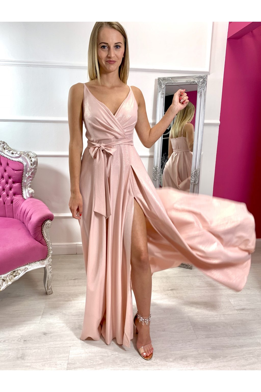 MISSY dámske dlhé spoločenské šaty - staroružové