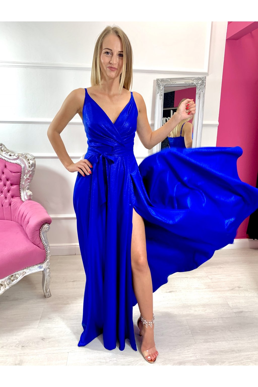 MISSY dámske dlhé spoločenské šaty - modré