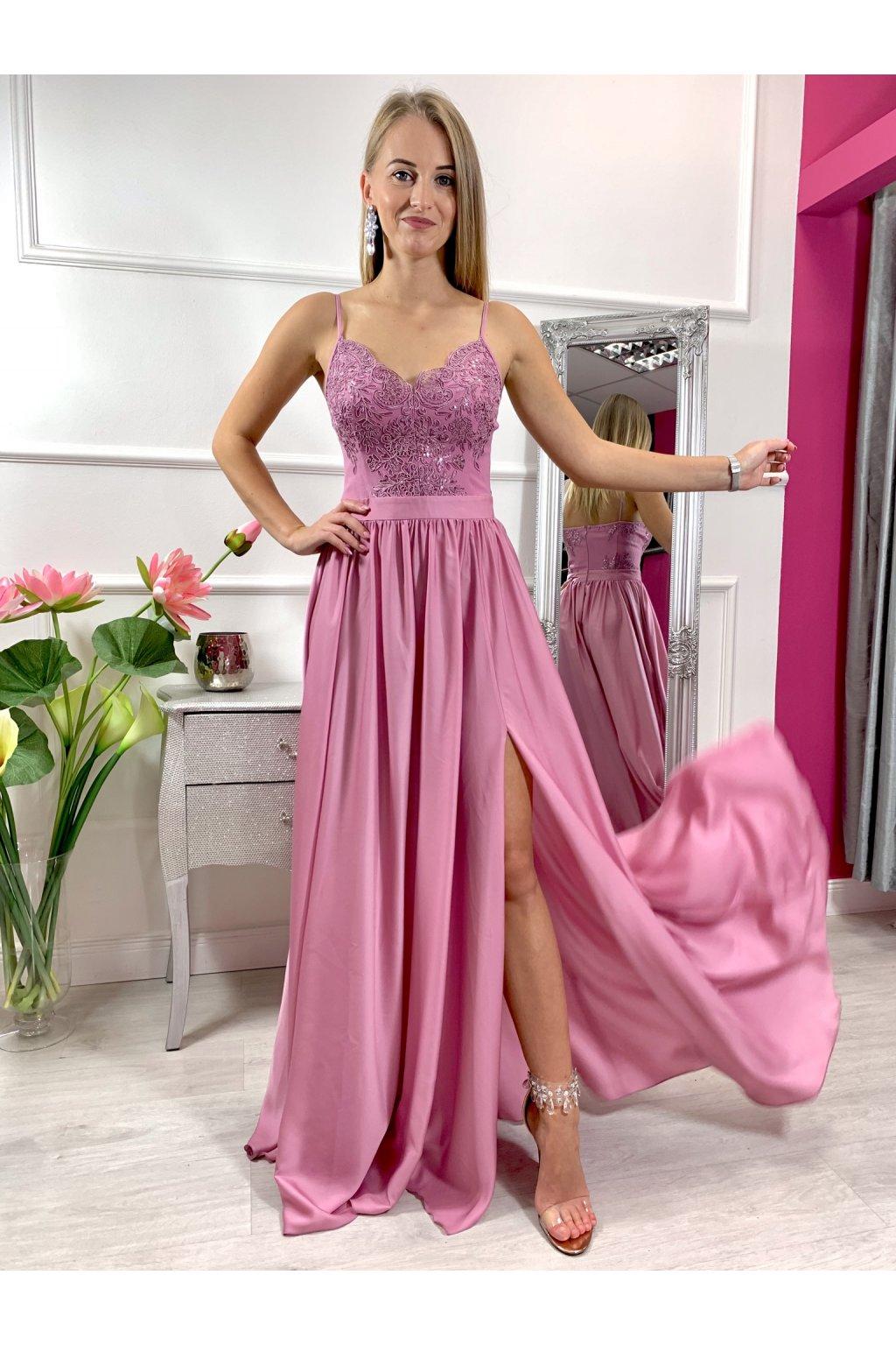 BELLA dámske dlhé spoločenské šaty s rozparkom - tmavšie staroružové