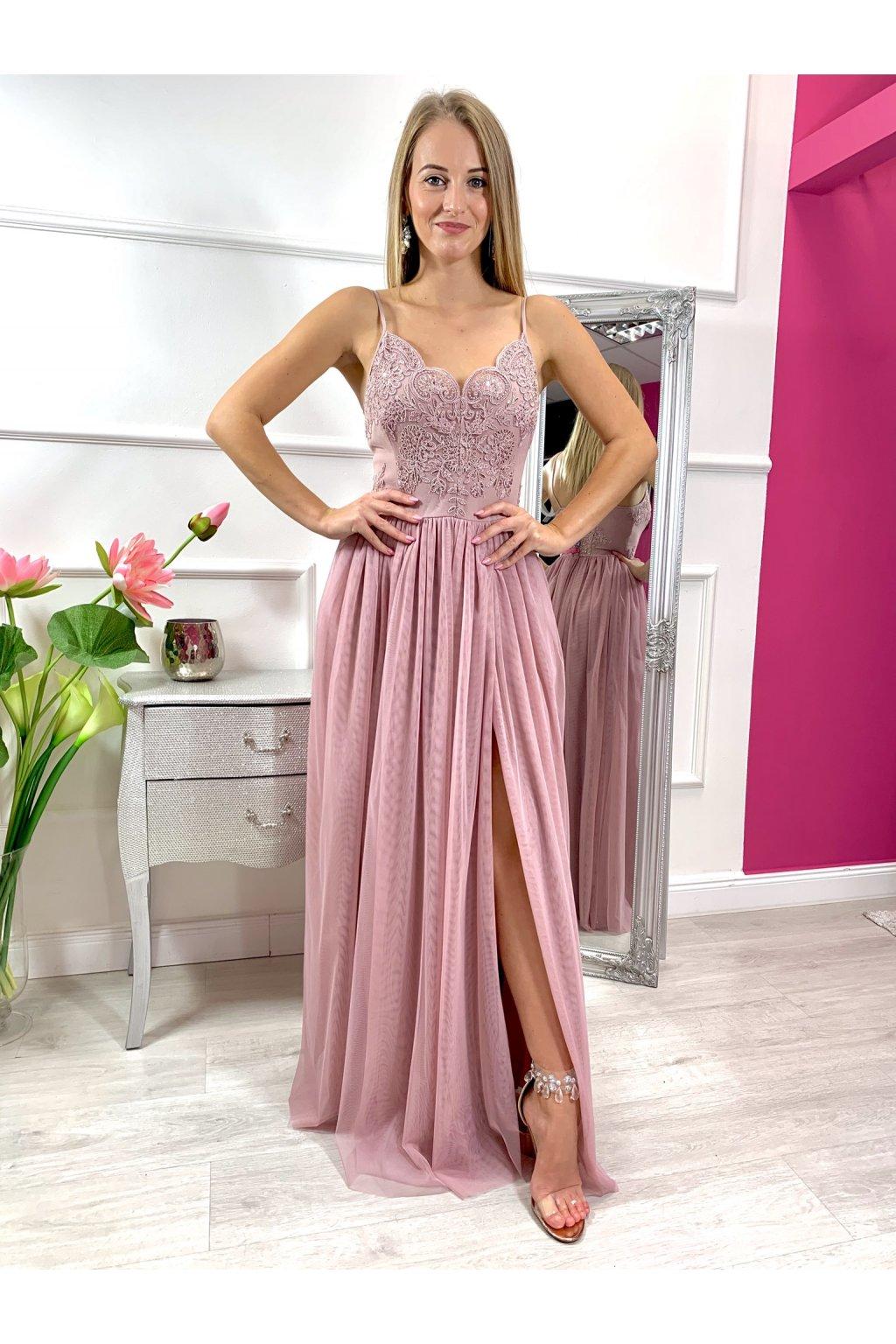 STELLA dámske dlhé spoločenské šaty s tylovou sukňou staroružová