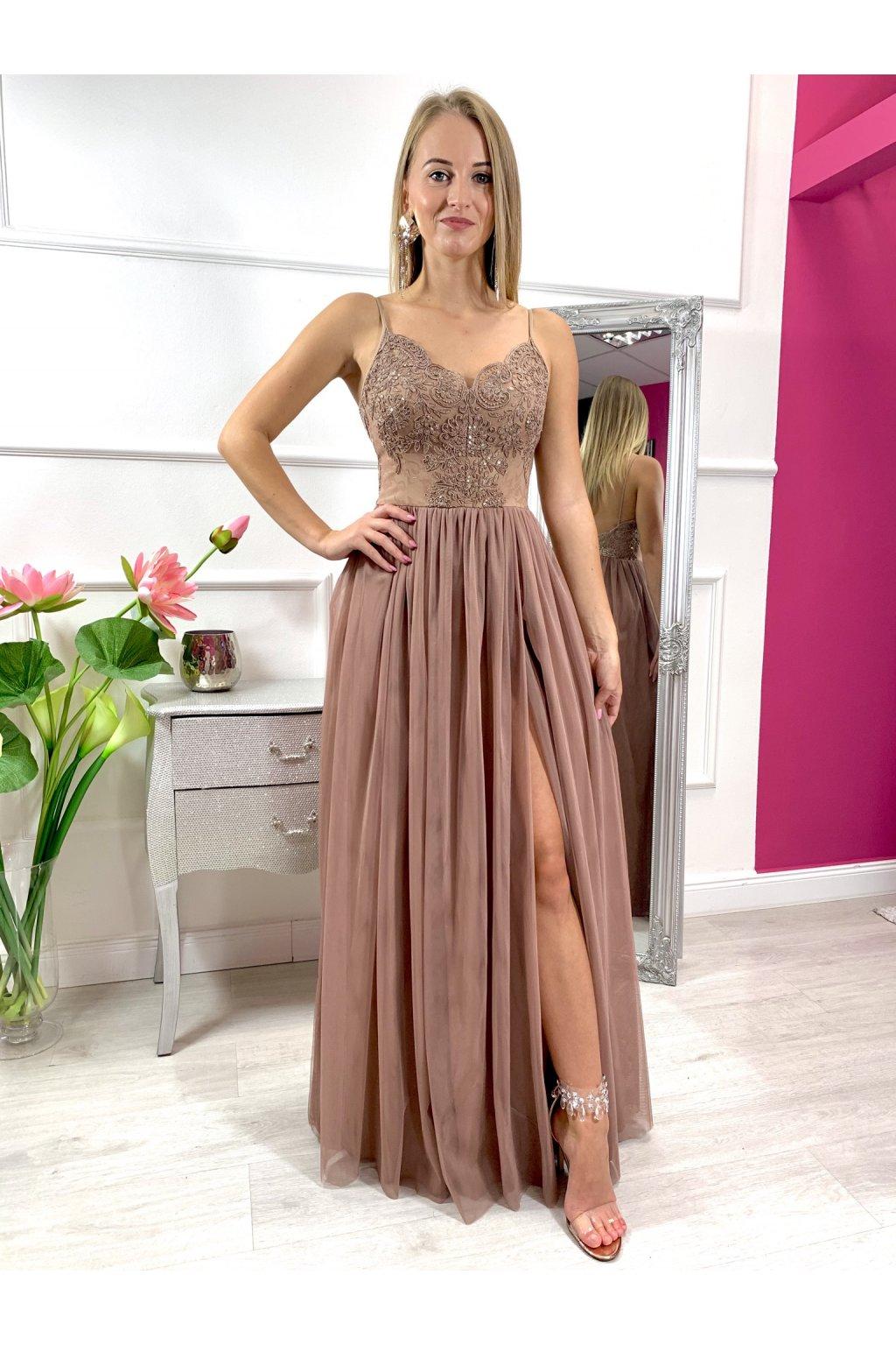 MOLI dámske dlhé spoločenské šaty s tylovou sukňou nude