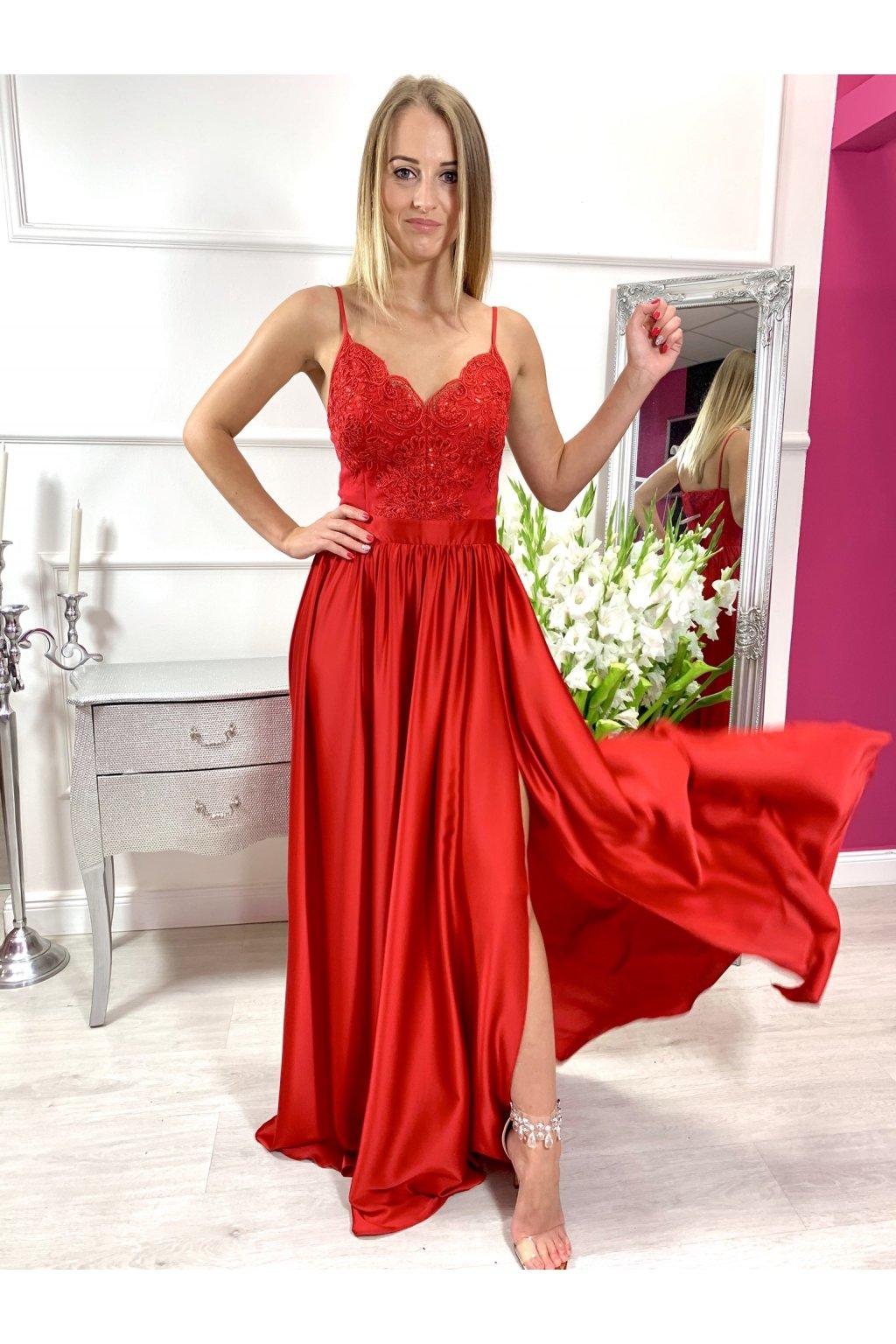 BELLA  dámske dlhé spoločenské šaty červené