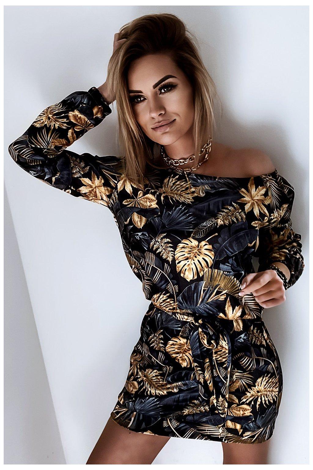 Voľné zamatové šaty s opaskom - Leaves