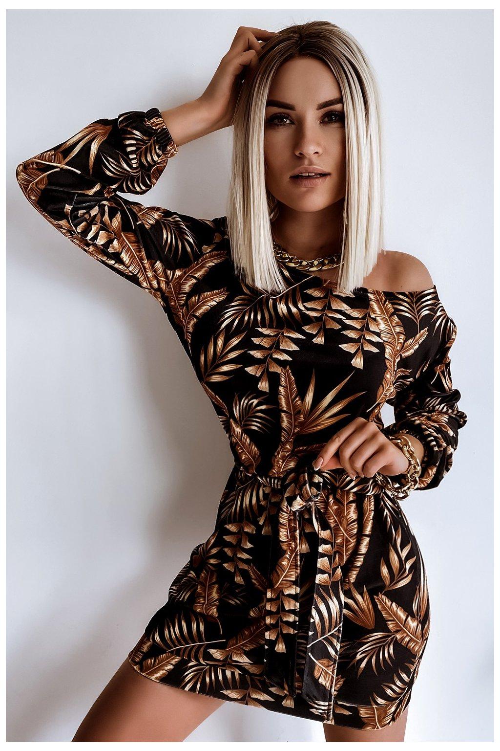 Voľné zamatové šaty s opaskom - Camel Leaves