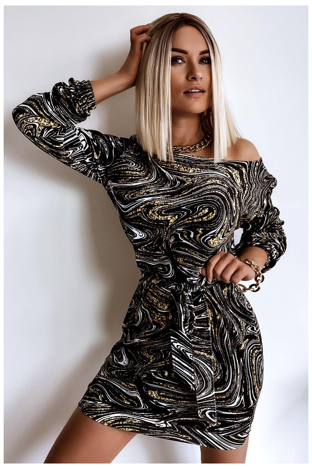 Voľné zamatové šaty s opaskom - Marble