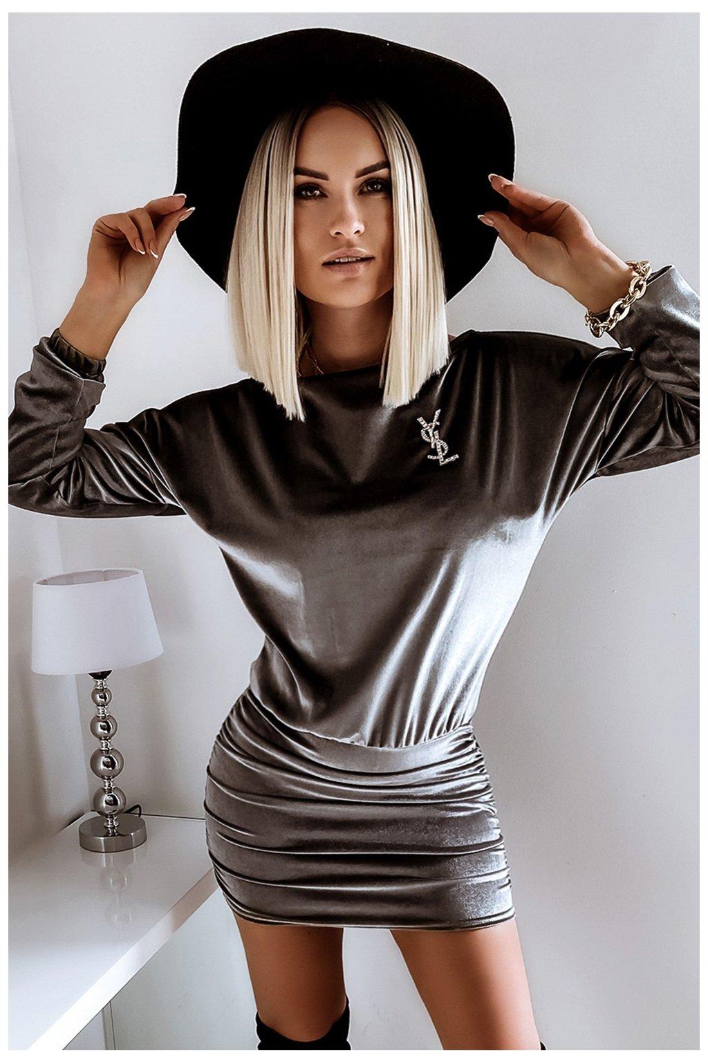 Voľné zamatové šaty - Gray