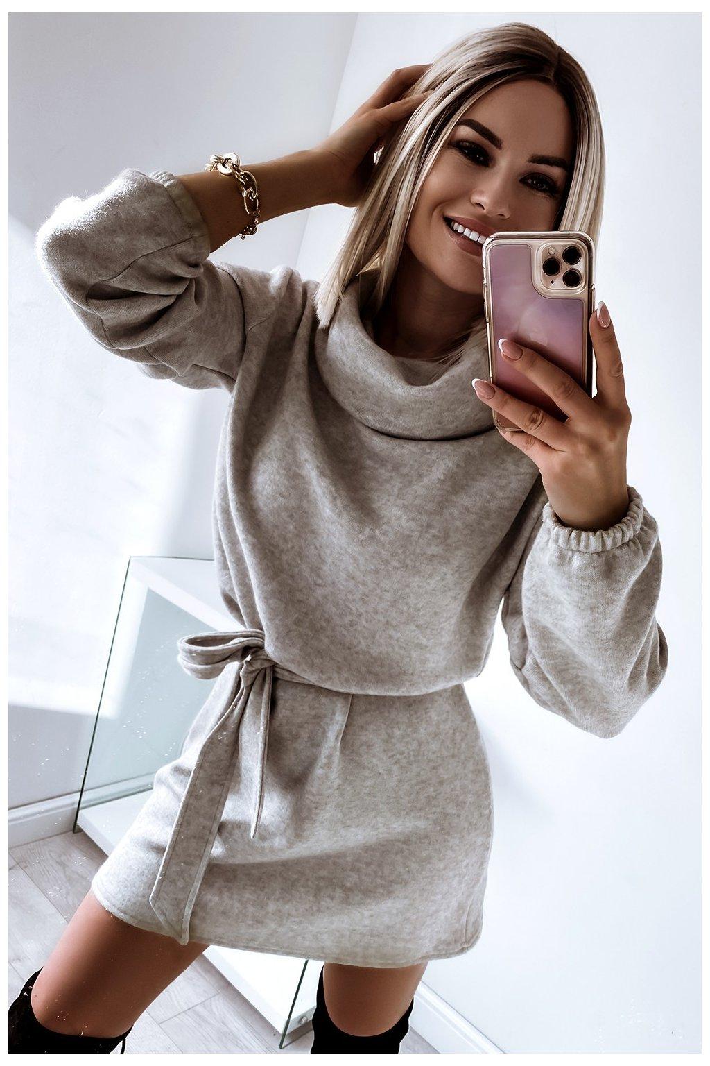 Teplučké jesenné šaty s opaskom - Gray